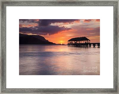Hanelei Pier Sunset Framed Print by Mike Dawson