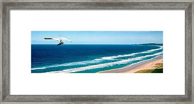 Hang Glider Over The Sea Framed Print