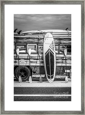 Hang Ten - Vintage Woodie Surf Bus - Florida - Black And White Framed Print