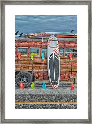 Hang Ten - Vintage Woodie Surf Bus - Florida Framed Print by Ian Monk