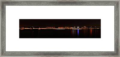 Hangang And Seoul Night Scene Panorama Framed Print by Phoresto Kim