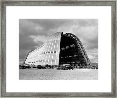 Hangar One At Moffett Field Framed Print by Underwood Archives