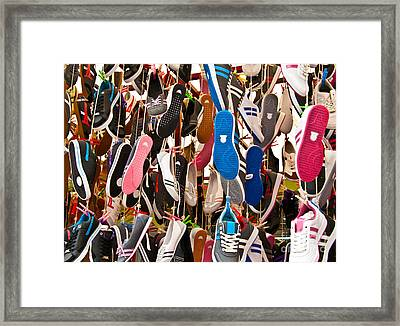 Hanged Colorful Sport Shoes Framed Print