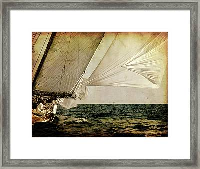 Framed Print featuring the photograph Hanged On Wind In A Mediterranean Vintage Tall Ship Race  by Pedro Cardona