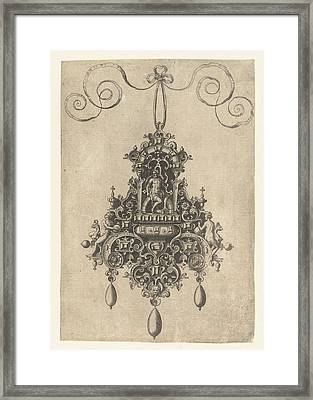 Hanger With Armored Seated Deity, Print Maker Anonymous Framed Print by Anonymous And Hans Collaert I And Philips Galle
