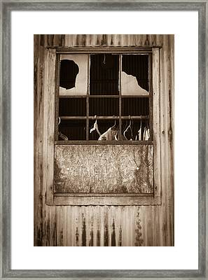Hangers In The Window Framed Print