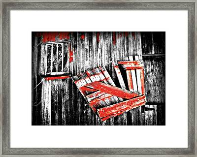 Hanging By A Few Nails Bw Framed Print by Julie Hamilton