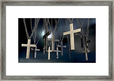 Hanging Crucifixes Far Framed Print by Allan Swart