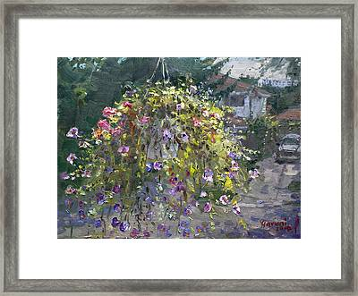 Hanging Flowers From Balcony Framed Print by Ylli Haruni