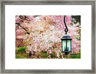 Hanging Lamp And Spring Flowers Framed Print by Nishanth Gopinathan