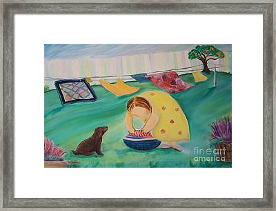 Hanging Laundry In The Summer Wind Framed Print by Teresa Hutto