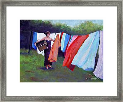 Hanging Laundry Framed Print by Joyce A Guariglia