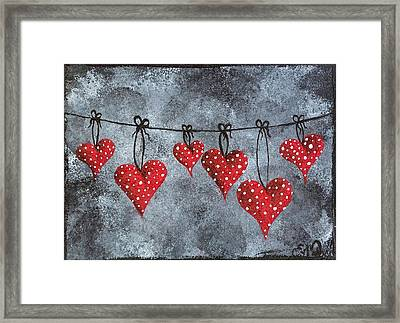 Framed Print featuring the painting Hanging On To Love by Oddball Art Co by Lizzy Love