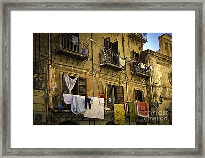 Hanging Out To Dry In Palermo  Framed Print by Madeline Ellis