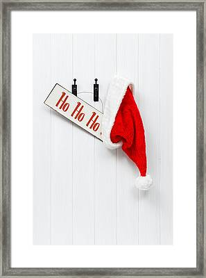 Hanging Santa Hat And Sign Framed Print by Amanda Elwell