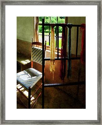 Hanging Skeins Of Yarn Framed Print by Susan Savad