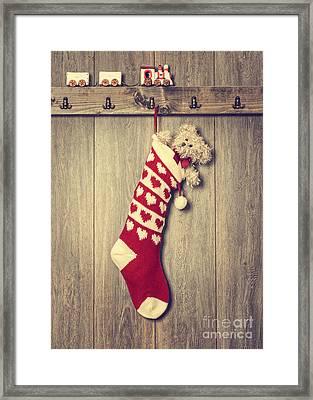 Hanging Stocking Framed Print by Amanda Elwell