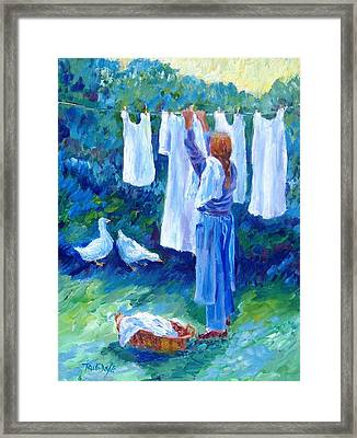 Hanging The Whites  Framed Print by Trudi Doyle