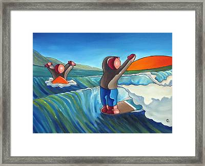 Hanging Two Framed Print by Olivier Longuet