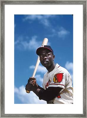 Hank Aaron Of The Milwaukee Braves Framed Print