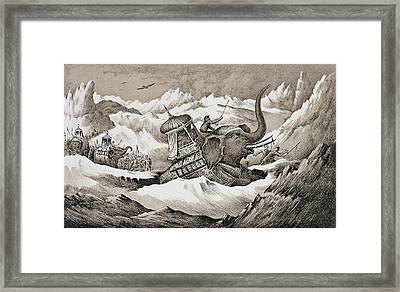 Hannibal And His War Elephants Crossing Framed Print