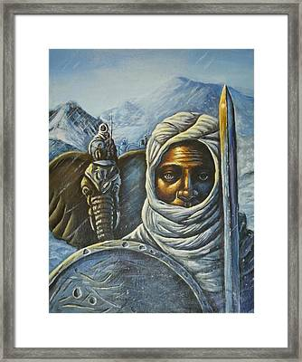 Hannibal Crossing The Alps Framed Print by Barbara Gray