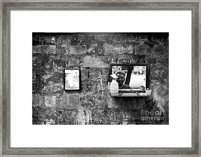 Hanoi Street Barber Framed Print