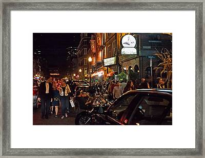 Hanover Street Nights - Boston Framed Print by Joann Vitali