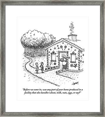 Hansel And Gretel Approach A Witch's Gingerbread Framed Print by Tom Cheney