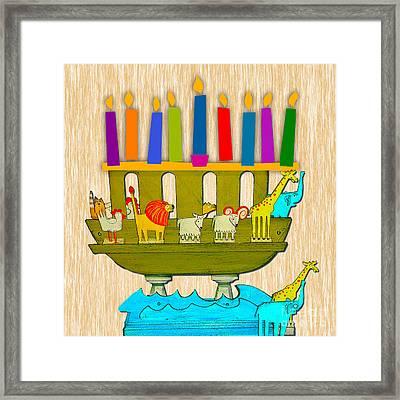 Hanukkah Menorah And Noah's Arc Framed Print by Marvin Blaine