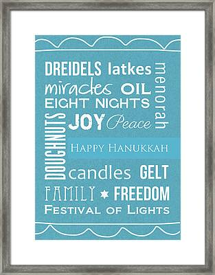 Hanukkah Words -greeting Card Framed Print