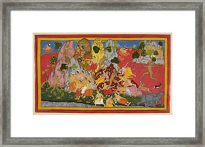 Hanuman Gathers More Magic Herbs Framed Print by British Library