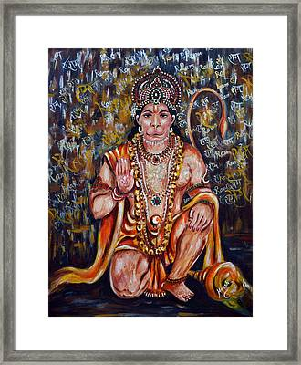 Framed Print featuring the painting Hanuman by Harsh Malik