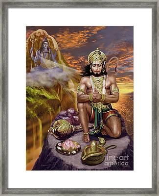 Hanuman Receives Lord Shiva's Blessings Framed Print