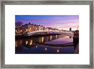 Framed Print featuring the photograph Hapenny Bridge At Dawn - Dublin by Barry O Carroll