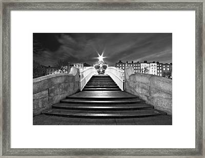 Framed Print featuring the photograph Ha'penny Bridge Steps At Night - Dublin - Black And White by Barry O Carroll
