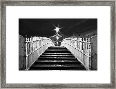 Framed Print featuring the photograph Ha'penny Bridge Steps - Dublin - Black And White by Barry O Carroll