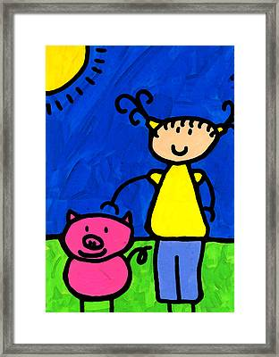 Happi Arte 1 - Girl With Pink Pig Art Framed Print by Sharon Cummings