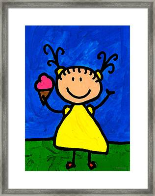 Happi Arte 3 - Little Girl Ice Cream Cone Art Framed Print by Sharon Cummings