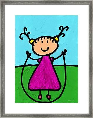 Happi Arte 7 - Girl On Jump Rope Art Framed Print by Sharon Cummings