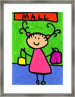 Happi Arti 5 - Shopaholic Little Girl Art Framed Print by Sharon Cummings