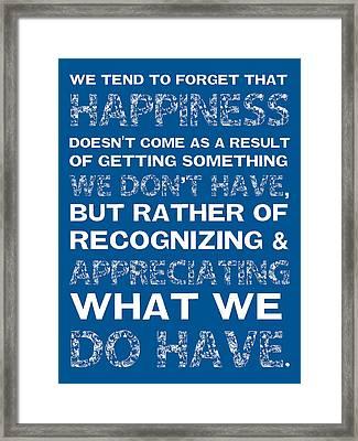 Happiness Framed Print by Brandon Addis