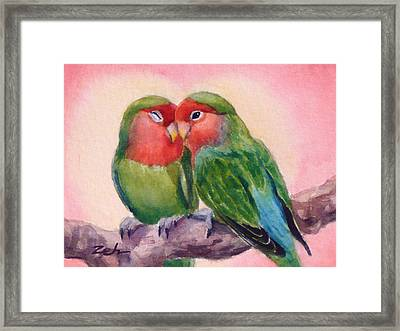 Happiness Forever Lovebirds Framed Print by Janet  Zeh