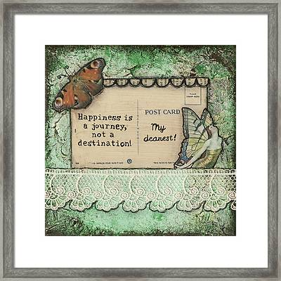 Happiness Is A Journey Inspirational Mixed Media Folk Art Framed Print