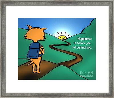 Framed Print featuring the drawing Happiness Is Before You by Pet Serrano