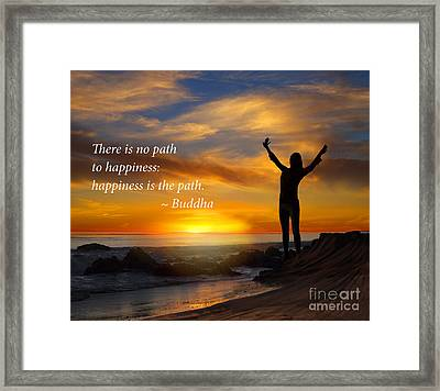 Happiness Is The Path Framed Print by Stella Levi