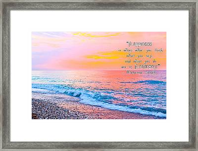 Happiness Quote Mahatma Gandhi  Framed Print