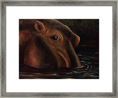 Happy As A Hippo Framed Print by K Simmons Luna