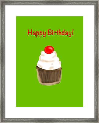 Framed Print featuring the digital art Happy Bday W A Cherry On Top by Christine Fournier