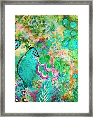 Happy Bird In Aqua Framed Print by Anne-Elizabeth Whiteway